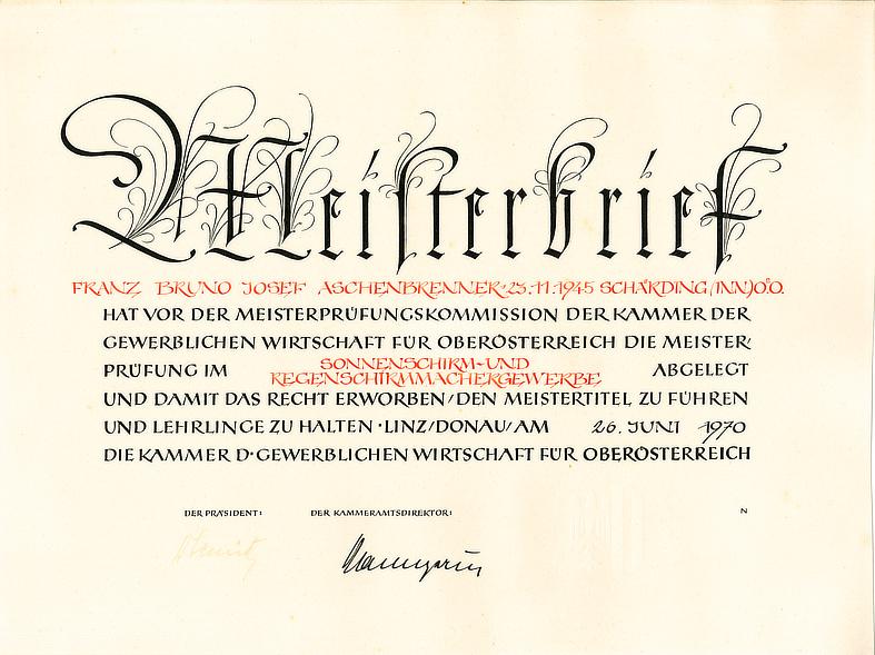 Meisterbrief Franz Aschenbrenner (II.) 1970